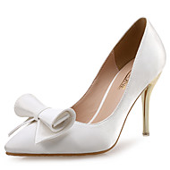 Women's Heels  Styles / Pointed Toe Silk Wedding / Party & Evening / Dress Stiletto Heel BowknotBlack /
