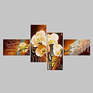 Pintados à mão Floral/Botânico Qualquer Forma,Clássico Moderno 4 Painéis Pintura a Óleo For Decoração para casa
