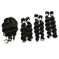 7 Pieces/Lot Deep Wave Hair Human Hair Weaves With Closure Color 1b Natural Black (14inch16inch18inch)