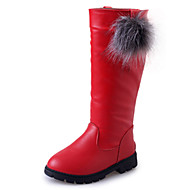 Girl's Boots Fall / Winter Fashion Boots PU Outdoor / Casual Flat Heel Slip-on Black / Red / Burgundy Walking