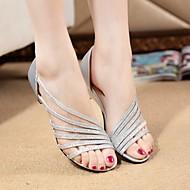 Naiset Kengät PU Kesä Comfort Sandaalit Kävely Tasapohja Käyttötarkoitus Hopea Purppura Kultainen