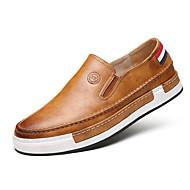 Herre-Kunstlær-Flat hæl-Lukket tå / Komfort / Rund tå-Flate sko-Fritid-Svart / Brun / Gul / Grå