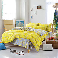 Bedtoppings Comforter Duvet Quilt Cover 4pcs Set Queen Size Flat Sheet Pillowcase Yellow Grey Pattern Prints Microfiber