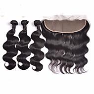 Trama do cabelo com Encerramento Cabelo Indiano Onda de Corpo 4 Peças tece cabelo