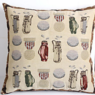 Linen Pillow Cover/Case   Woven Traditional/Classic Gold Badge Feature