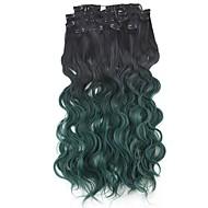 neitsi 60 centímetros 165g onda clipe ondulado em na extensão do cabelo ombre verde sintético cabelo de trama 8pcs / set