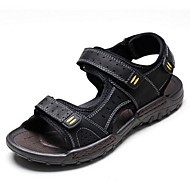 Men's Sandals Summer PU Casual Flat Heel Others Black Brown Others