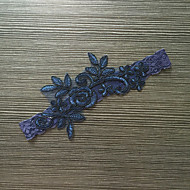 Podvazek Elastický satén Krajka Květiny Niebieski