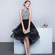 Cocktail Party Dress Ball Gown Jewel Asymmetrical Satin / Tulle with Beading / Bow(s) / Sash / Ribbon