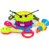 bel hoorn handtrommel abs rood / blauw / geel / paars muziek speelgoed