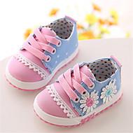 Девочки Дети Кеды Удобная обувь Полотно Осень Повседневные Удобная обувь Шнуровка На плоской подошве Розовый Коралловый На плоской подошве