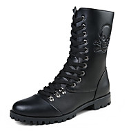 Men's Boots Fall / Winter Combat Boots / Round Toe PU Casual Flat Heel Others / Zipper / Lace-up Black Others