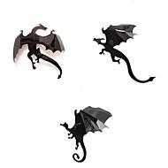 7Pcs Black 3D DIY PVC Halloween Dragon Wall Sticker Decals Home Decor Decoration