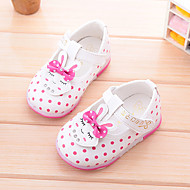 Unisex Flats Fall Leatherette Casual Flat Heel Polka Dot Pink White Peach Other