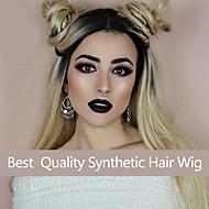 2トーンのレース合成かつらの女性を金髪自然な生え際波状オンブルブラックは髪の毛のかつらを振ります