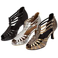 Chaussures de danse(Noir / Argent / Or) -Personnalisables-Talon Personnalisé-Similicuir / Paillette Brillante-Latine / Salsa