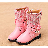 Girl's Boots Spring / Fall Combat Boots PU Casual Flat Heel Zipper Black / Pink / Red Others