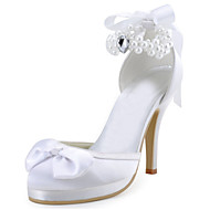 Women's Flats Spring / Platform Stretch Satin Wedding / Dress Stiletto Heel Crystal / PearlRed /