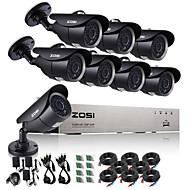 zosi®8ch 720p cctv dvr 8pcs systemet cctv overvågningskamera 1,0 mp