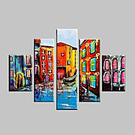 Hand Painted Oil Painting Venice Water Boats Landscape Paintings with Stretched Frame Set of 5