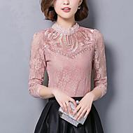 Blusa Da donna Casual Sensuale Autunno,Tinta unita A collo alto Cotone / Nylon / Elastene Rosa / Bianco / Nero Manica lungaMedio spessore