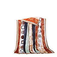 Bedtoppings Blanket Flannel Coral Fleece Fake Mink Queen Size 200x230cm Colorful Stripe Prints Thicker