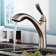 Stylish European Nickel Brushed Pull-out Kitchen Faucet -Ancient silve