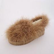 Damen Flache Schuhe Komfort PU Pelz Herbst Winter Normal Walking Komfort Flacher Absatz Schwarz Grau Braun Flach