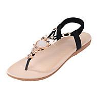 Dame Sandaler Komfort PU Sommer Avslappet Komfort Krystall Strikk Flat hæl Svart Beige Blå Flat