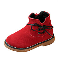 Boy's Boots Fall Winter Comfort Suede Dress Casual Flat Heel Lace-up Black Red Gray Walking