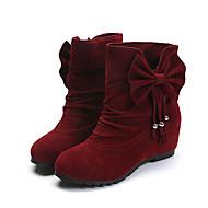 נשים-מגפיים-PU-נוחות-שחור צהוב אדום-יומיומי-עקב שטוח