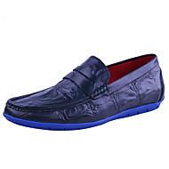 Loafers og Slip-ons-Læder-Mokkasin-Herre-Sort Marine Burgunder-Udendørs Kontor Fritid-Flad hæl