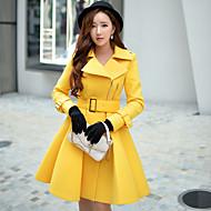 Alkalmi / Munka / Party/koktél Vintage / Ízléses Őszi / Téli-Női Kabát,Egyszínű Állógallér Hosszú ujj Sárga Gyapjú / PoliészterKözepes