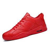 Sneakers-Stof-Komfort-Unisex-Sort Grøn Rød Hvid-Fritid-Flad hæl