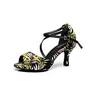 Customizable Women's Dance Shoes Satin Satin Latin Sandals Stiletto Heel Practice / Beginner / Professional / Indoor / Performance Green