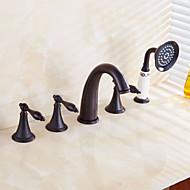 Antique Roman vana vodopád / ruční sprcha zahrnuty s keramickým ventilem dvěma uchy pět otvorů pro ropná třel bronz