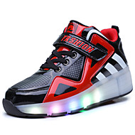 Boy's Sneakers Fall Winter Comfort PU Casual Flat Heel Magic Tape White Black and Red Royal Blue Others