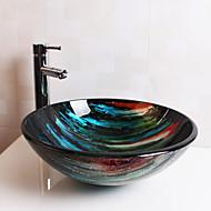 עדכני T12*Φ420*H145MM עגול חומר סינק הוא זכוכית מחוסמת כיור אמבטיה / ברז אמבטיה / טבעת הצבה לאמבטיה / ניקוז מי אמבטיה