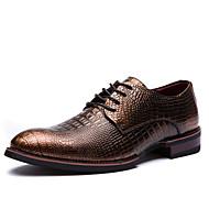 Herren-Outdoor-Büro Lässig Party & Festivität-Leder-Flacher Absatz-formale Schuhe-Schwarz Bronze Braungrau Burgund