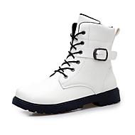 Herre-Mikrofiber-Flat hæl-Komfort-Støvler-Fritid-Svart Hvit