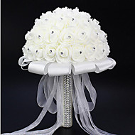 """Bouquets de Noiva Redondo Rosas Buquês Casamento Cetim Espuma Strass 7.87""""(Aprox.20cm)"""