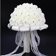 "Svatební kytice Kulatý Růže Kytice Svatba Satén Pěna imitace drahokamu 20 cm (cca 7,87"")"
