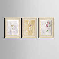 E-HOME® Framed Canvas Art, Flowers Framed Canvas Print Set of  3