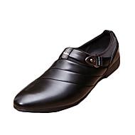 Herre-PU-Flat hæl-Komfort-一脚蹬鞋、懒人鞋-Fritid-Svart Brun Hvit