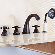 Antique Roman Tub Waterfall with Ceramic Valve Two Handles Five Holes for Oil-rubbed Bronze , Bathtub Faucet