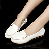 Kadın Mokasen & Bağcıksız Ayakkabılar Rahat PU Bahar Yaz Sonbahar Günlük Rahat Malzeme Kombini Düz Topuk Beyaz Siyah Mavi Pembe Düz
