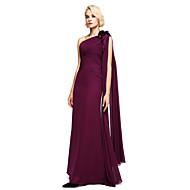 Lanting Bride® Longueur Sol Mousseline de soie Robe de Demoiselle d'Honneur  Robe de Soirée Une Epaule avec Billes / Fleur(s)