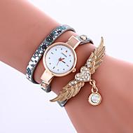 Women's Fashion Watch Rhinestone Casual PU Leather Band Bracelet Watch Women Wings Wrist watches Long Band Watch