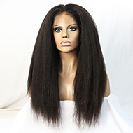 10-24 pulgadas rizada peluca de pelo virginal brasileño recta del frente del cordón sin cola para las mujeres negras