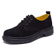 Unisex Oxfords Spring / Summer / Fall Comfort Suede Casual Flat Heel Lace-up Black /